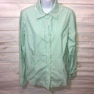 Lilly Pulitzer Green/White Striped Ruffle Shirt-10